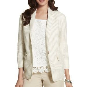Chico's tan cream easy striped linen blazer